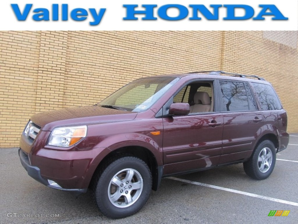 2007 Pilot EX 4WD - Dark Cherry Pearl / Saddle photo #1