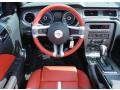 2013 Ford Mustang Brick Red/Cashmere Accent Interior Steering Wheel Photo