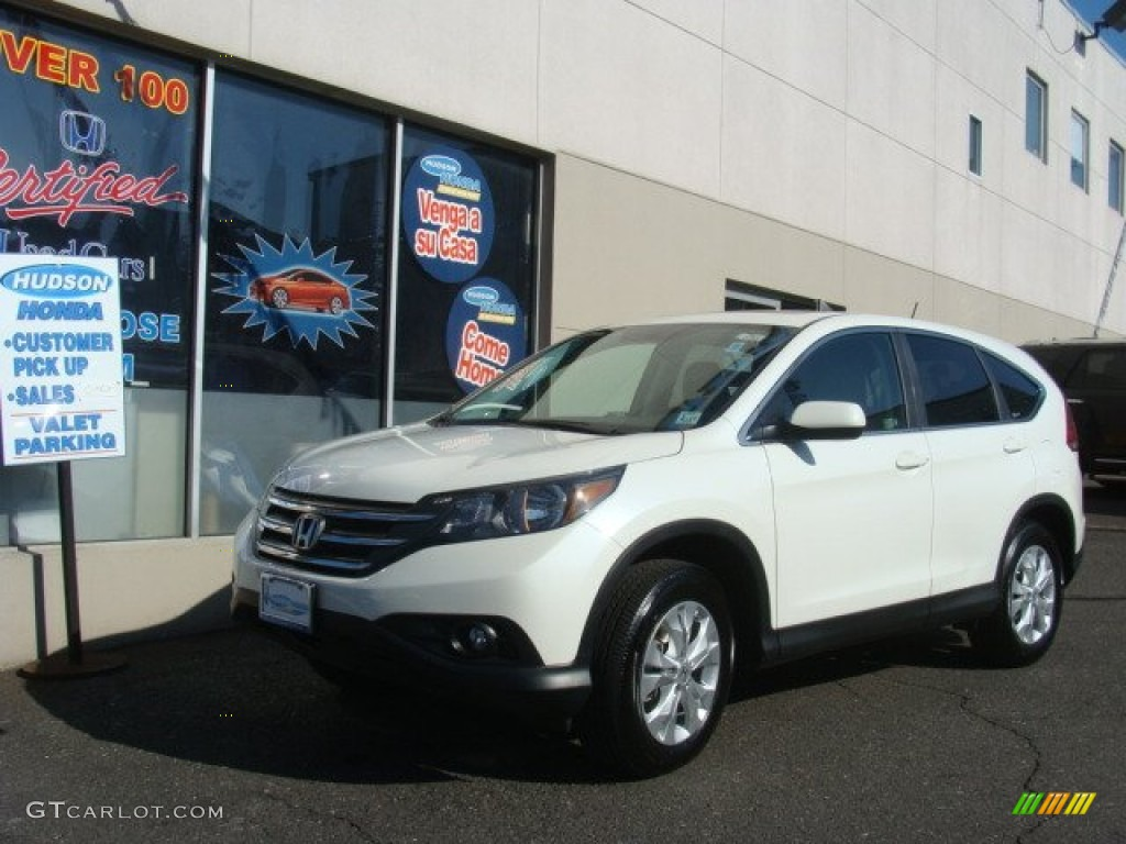 2012 CR-V EX 4WD - White Diamond Pearl / Beige photo #1