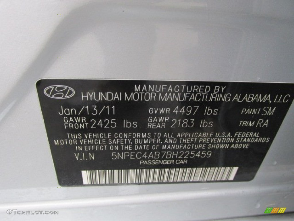 2011 Sonata Color Code Sm For Radiant Silver Photo