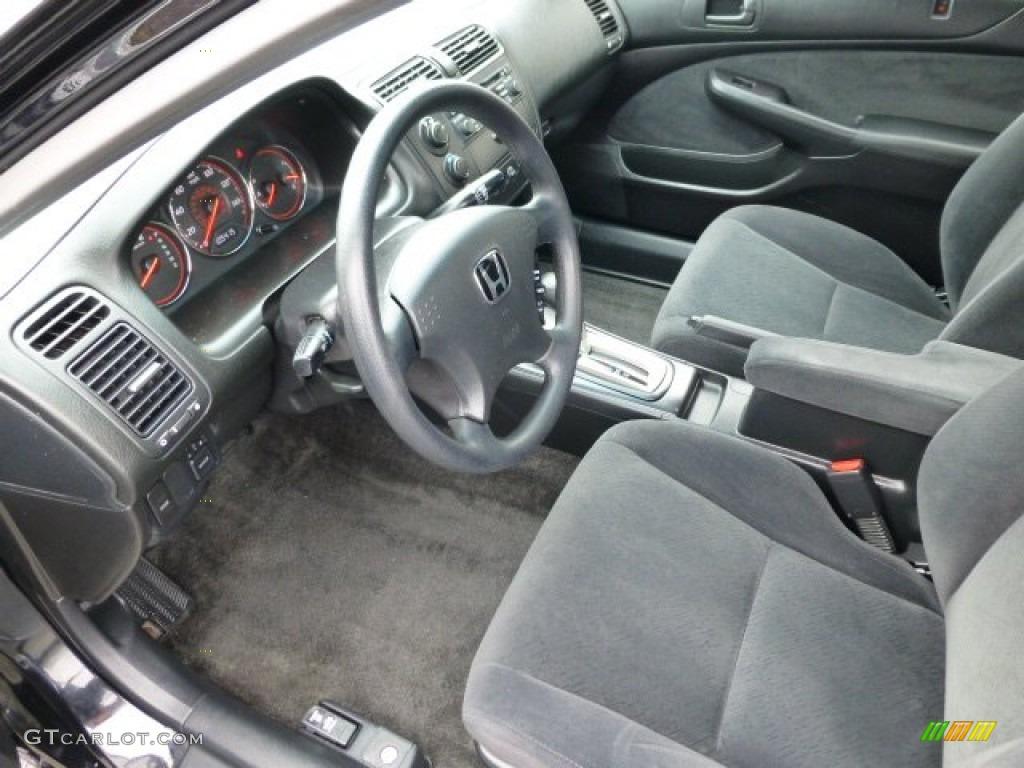 Black Interior 2004 Honda Civic LX Coupe Photo #77265224