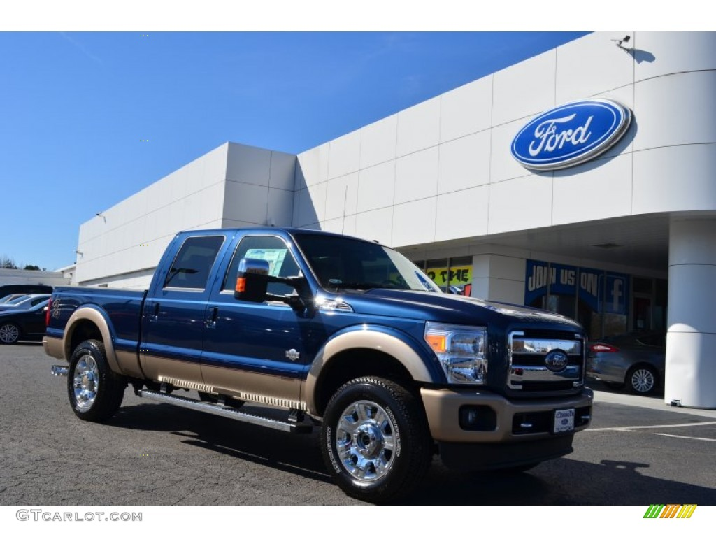 2013 F250 Super Duty King Ranch Crew Cab 4x4 - Blue Jeans Metallic / King Ranch Chaparral Leather/Black Trim photo #1