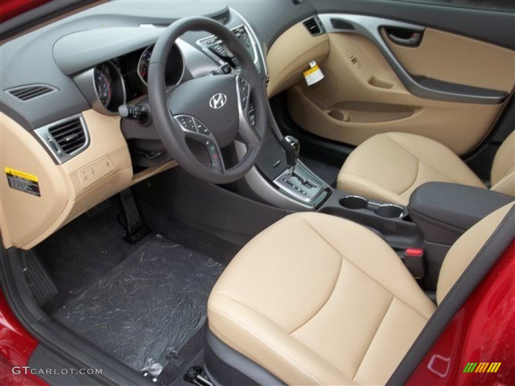 Beige Interior 2013 Hyundai Elantra Limited Photo 77457930