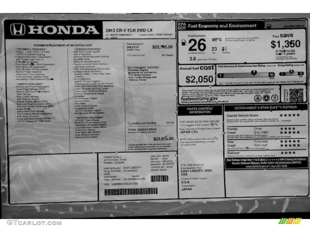 2013 Honda Cr V Lx Window Sticker Photos Gtcarlot Com