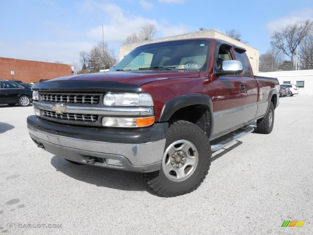 2000 Silverado 1500 LS Extended Cab 4x4 - Dark Carmine Red Metallic / Graphite photo #1