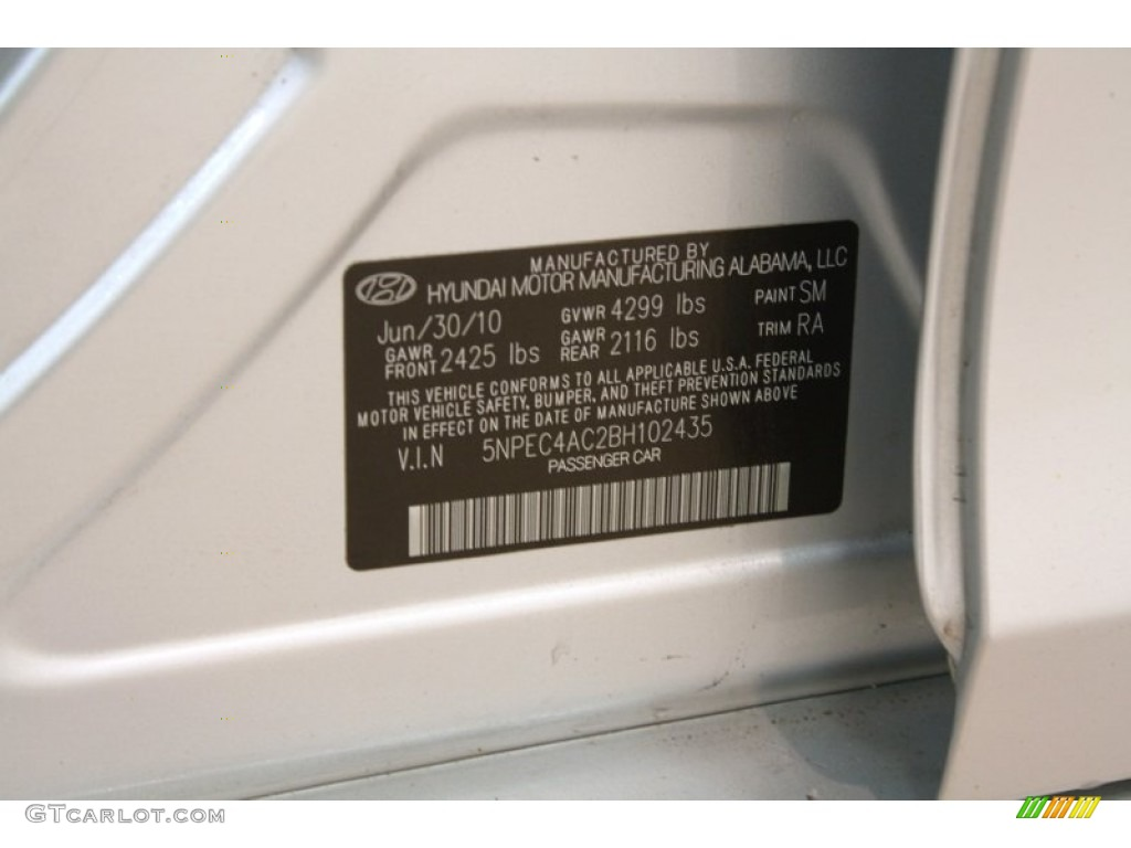 2011 hyundai sonata se color code photos