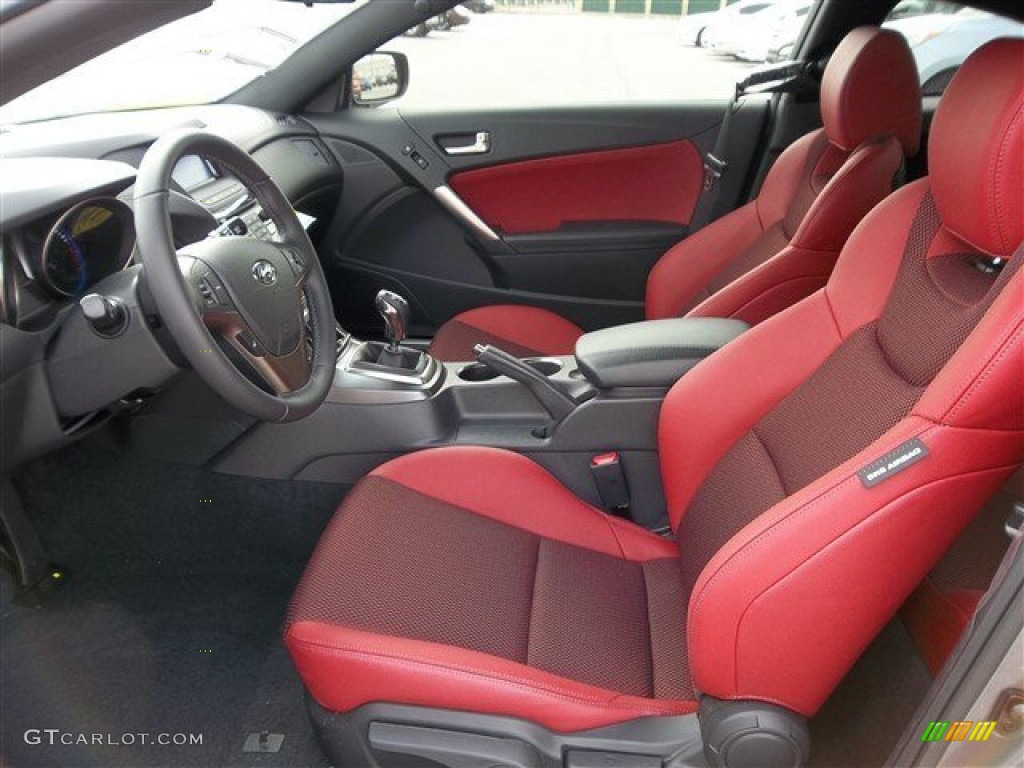 Red Leather Red Cloth Interior 2013 Hyundai Genesis Coupe