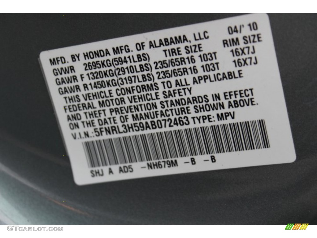 2010 odyssey color code nh679m for slate green metallic for Honda odyssey service codes