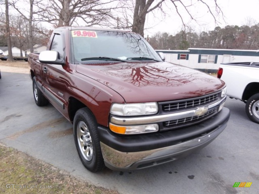 2000 Silverado 1500 LS Regular Cab - Dark Carmine Red Metallic / Graphite photo #5