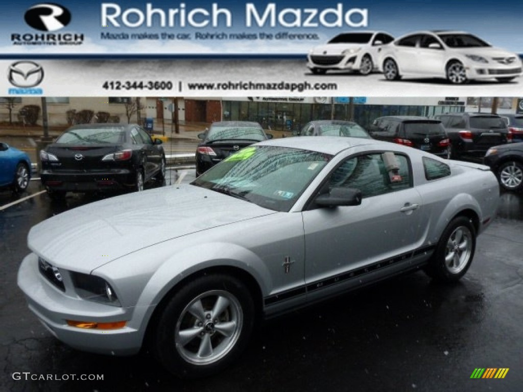 2007 Mustang V6 Deluxe Coupe - Satin Silver Metallic / Light Graphite photo #1