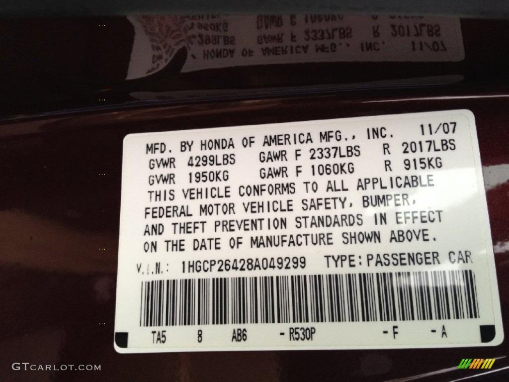 2008 Honda Accord Lx P Sedan Color Code Photos Gtcarlot Com