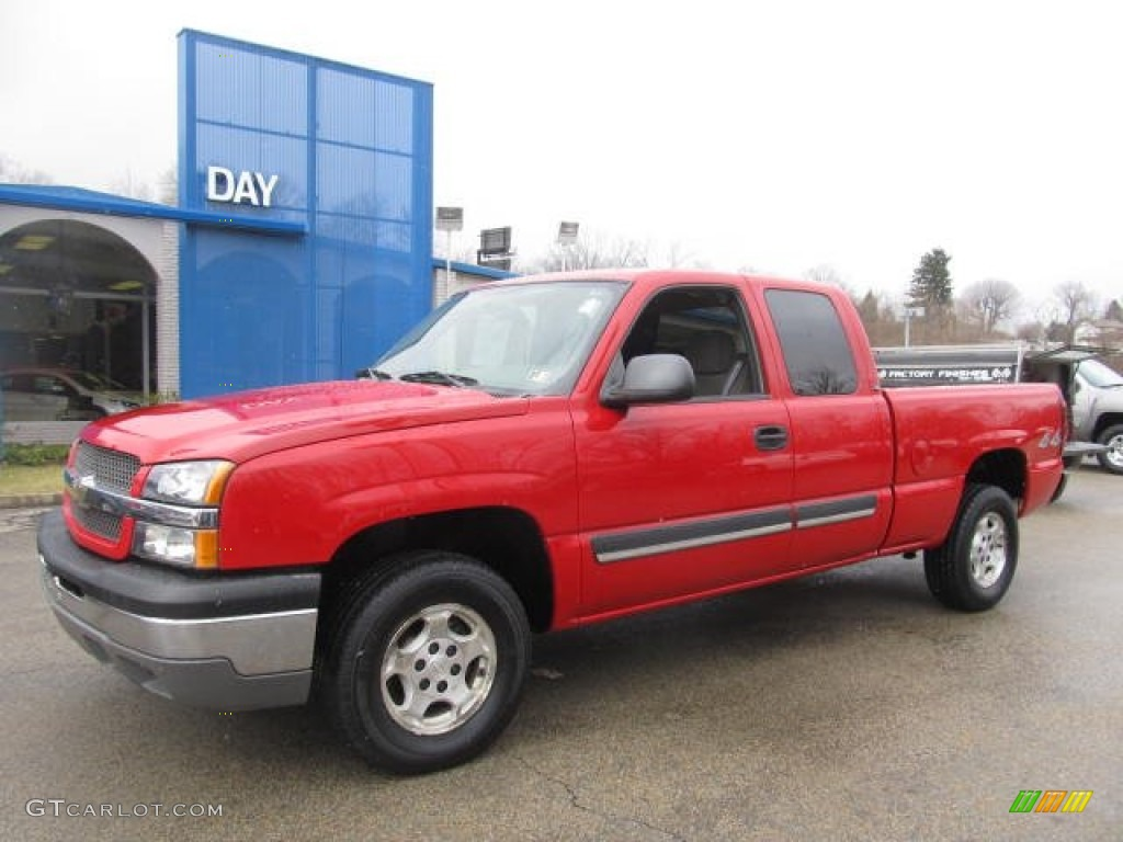 2004 victory red chevrolet silverado 1500 lt extended cab 4x4 77819366 car. Black Bedroom Furniture Sets. Home Design Ideas