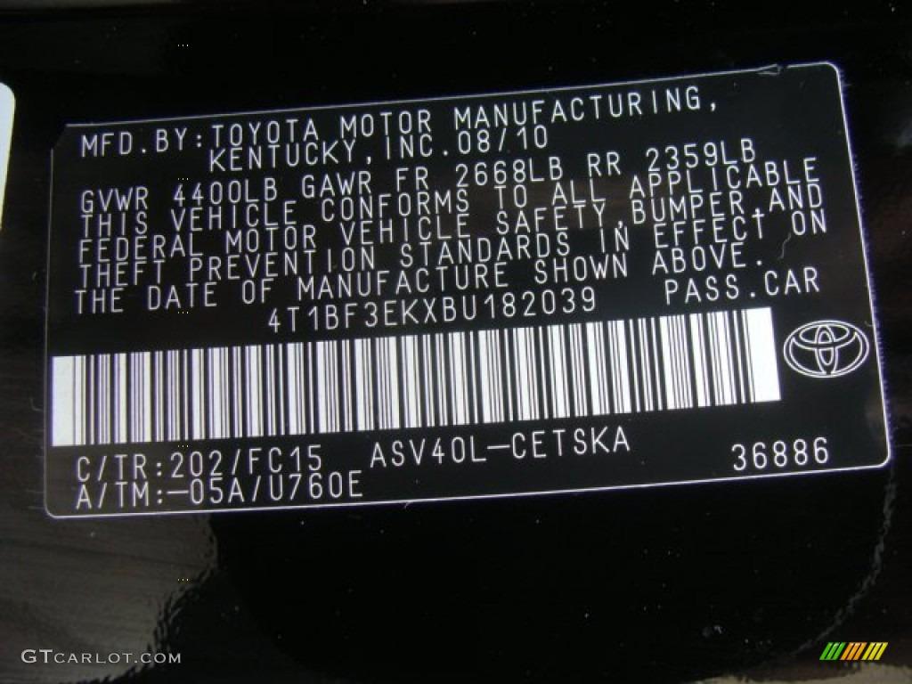 2011 Toyota Camry Se Color Code Photos Gtcarlot Com