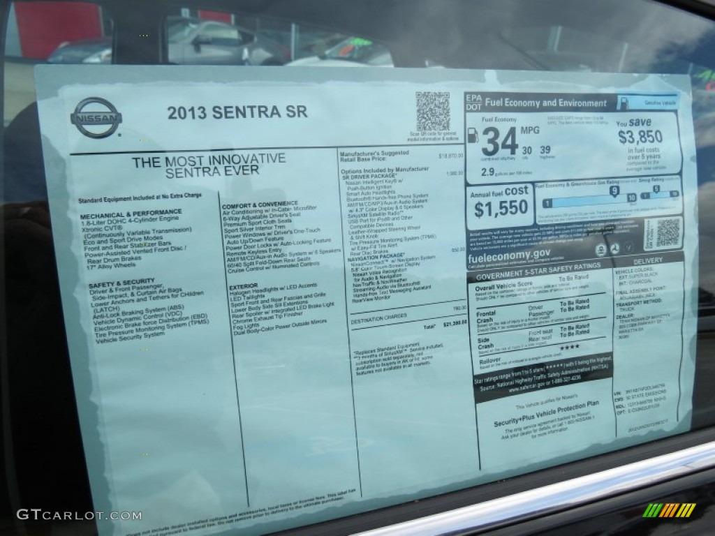 2013 Nissan Sentra Sr Window Sticker Photo 77990630