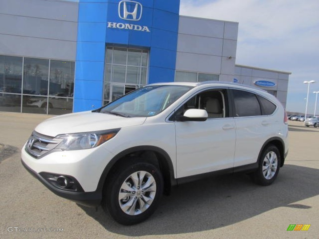 2013 CR-V EX-L AWD - White Diamond Pearl / Beige photo #1