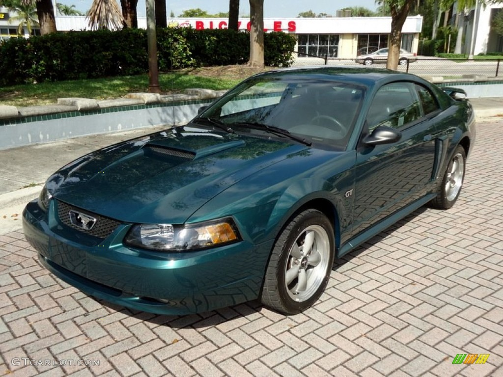 Tropic Green Metallic 2002 Ford Mustang GT Coupe Exterior Photo #78018629