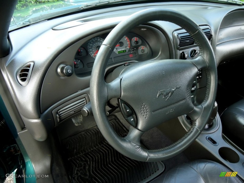 2002 Ford Mustang GT Coupe Dark Charcoal Steering Wheel Photo #78018785