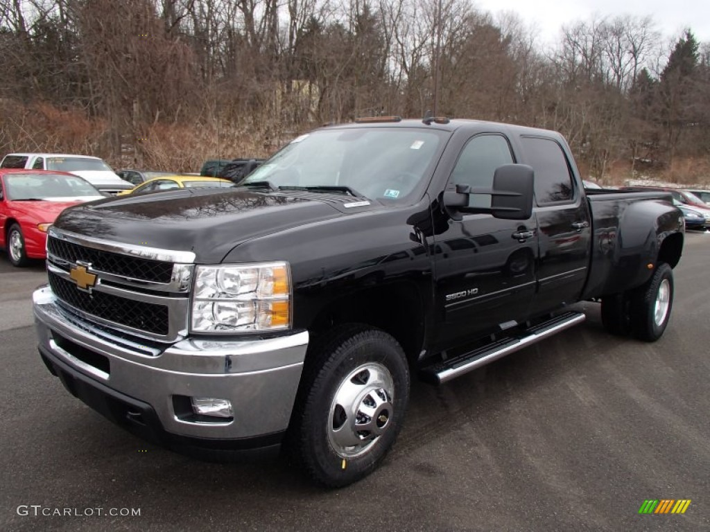 Black 2013 chevrolet silverado 3500hd ltz crew cab 4x4 dually exterior photo 78119306