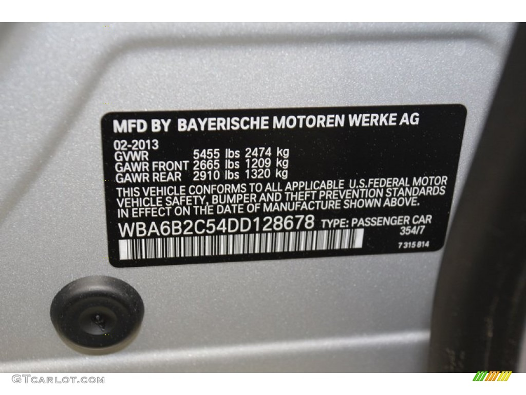 Bmw Paint Code 354 >> 2013 6 Series Color Code 354 For Titanium Silver Metallic Photo