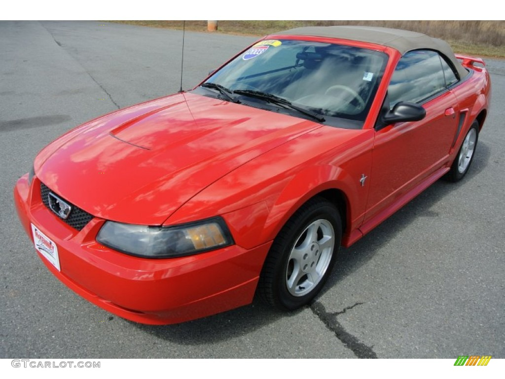 2003 Mustang V6 Convertible Torch Red Medium Parchment Photo 1