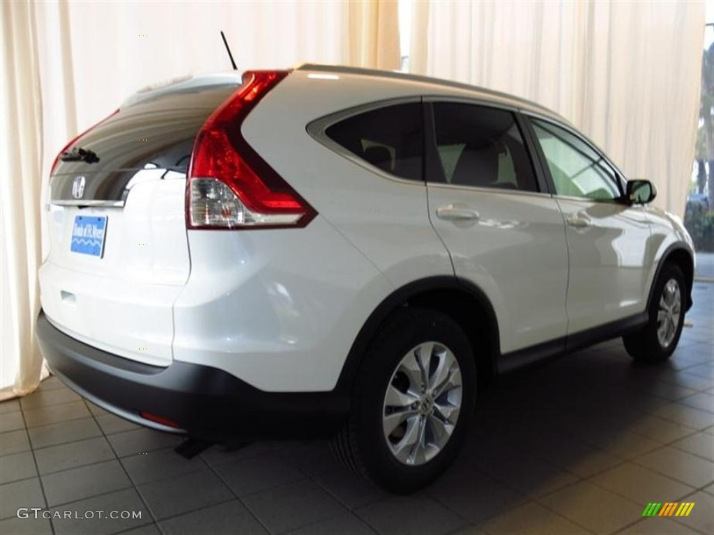 2013 CR-V EX-L - White Diamond Pearl / Beige photo #3