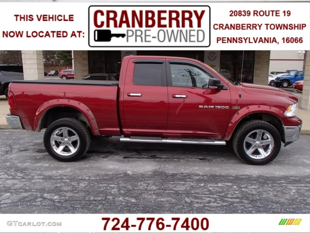 2011 Ram 1500 Big Horn Quad Cab 4x4 - Deep Cherry Red Crystal Pearl / Dark Slate Gray/Medium Graystone photo #1