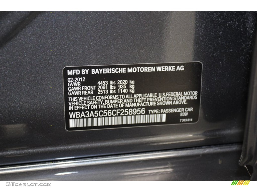 2012 3 Series Color Code B39 For Mineral Grey Metallic