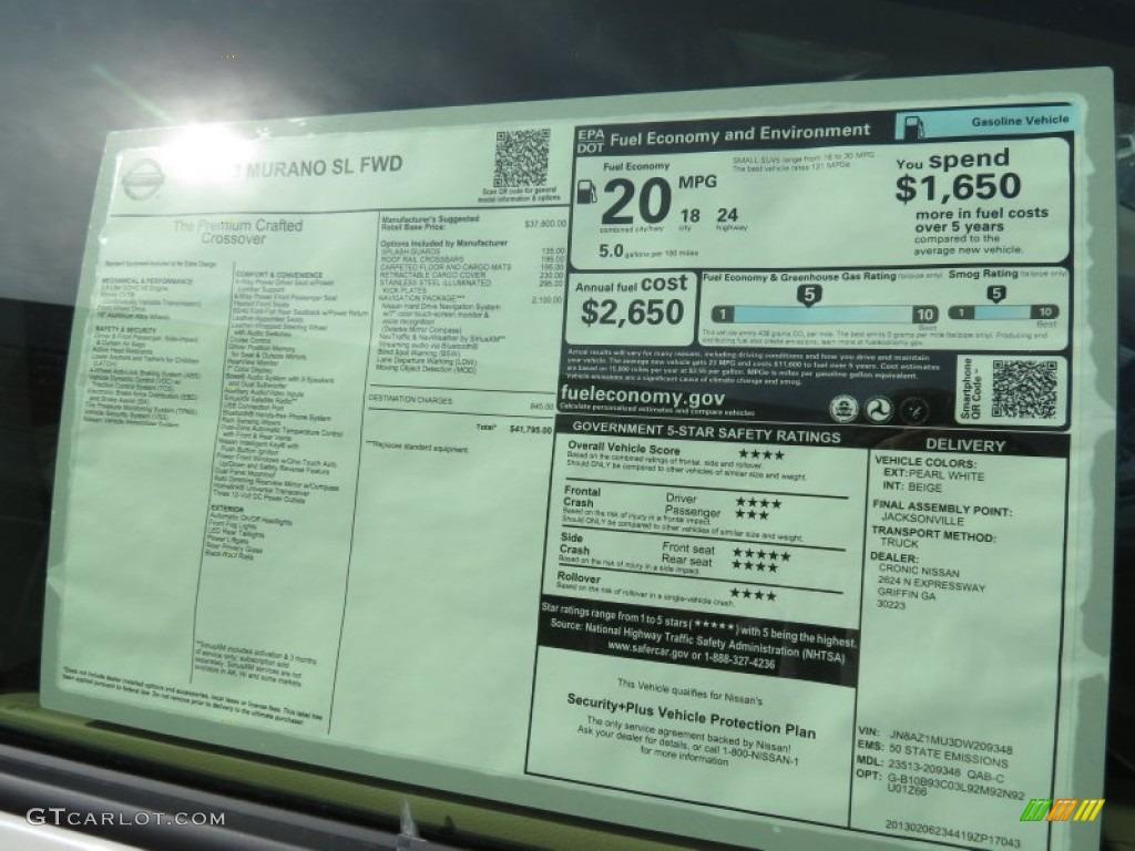 2013 Nissan Murano Sl Window Sticker Photo 78716660