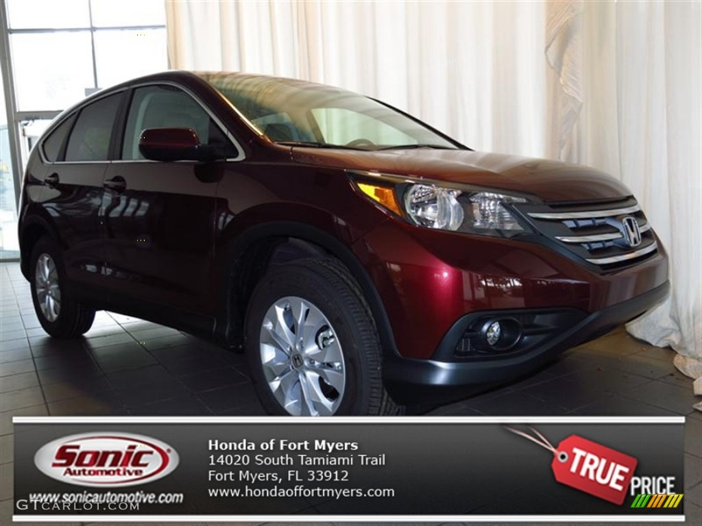 2013 CR-V EX AWD - Basque Red Pearl II / Gray photo #1