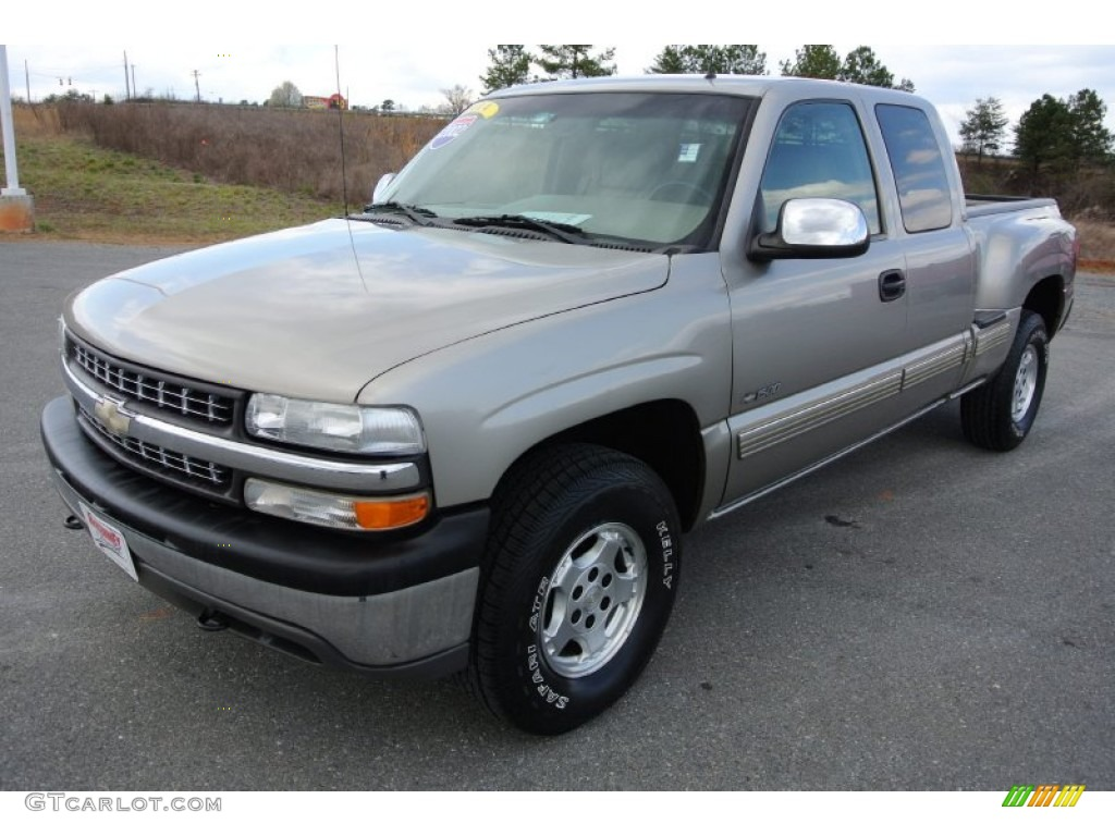 2002 Silverado 1500 LT Extended Cab 4x4 - Light Pewter Metallic / Tan photo #1