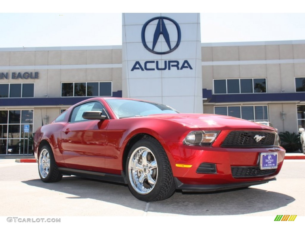 2011 Mustang V6 Premium Coupe - Red Candy Metallic / Saddle photo #1