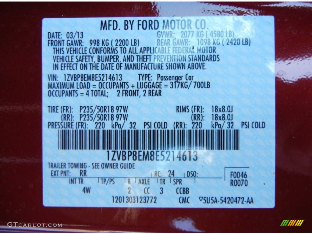 2014 Mustang Color Code RR for Ruby Red Photo 79035493  GTCarLotcom