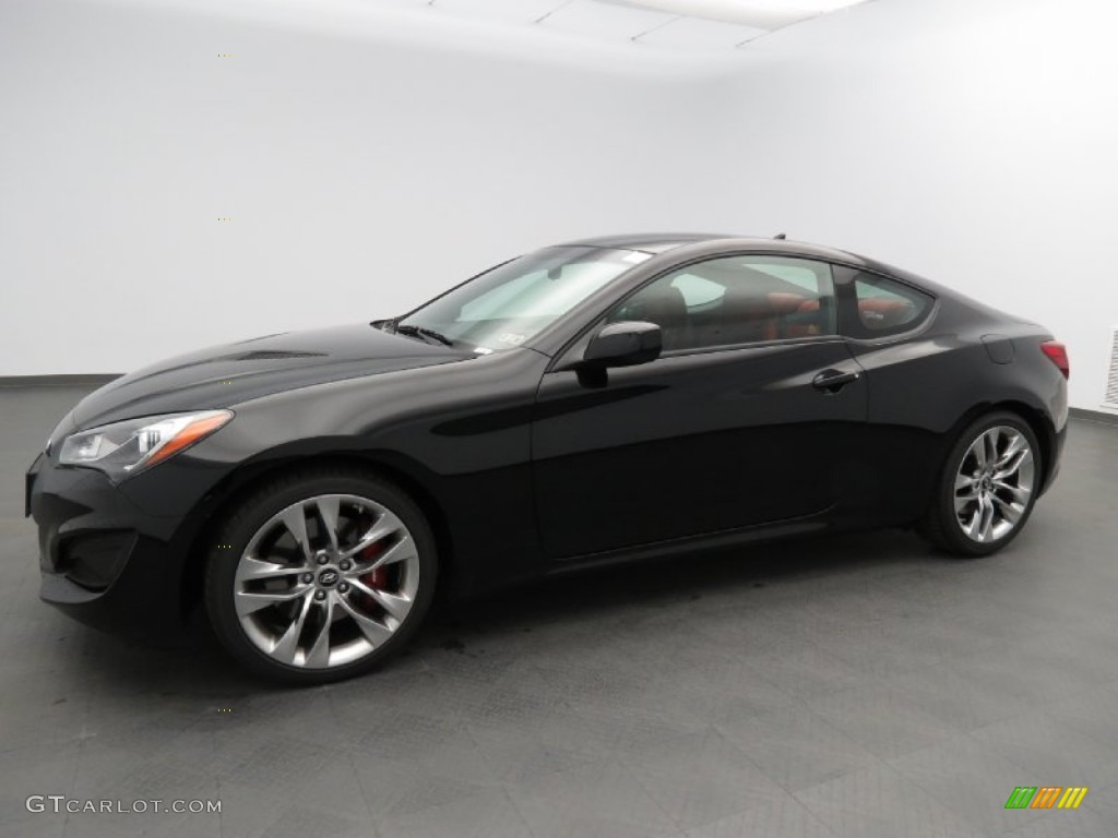 2013 Genesis Coupe 2.0T R-Spec - Black Noir Pearl / Red Leather/Red Cloth photo #1