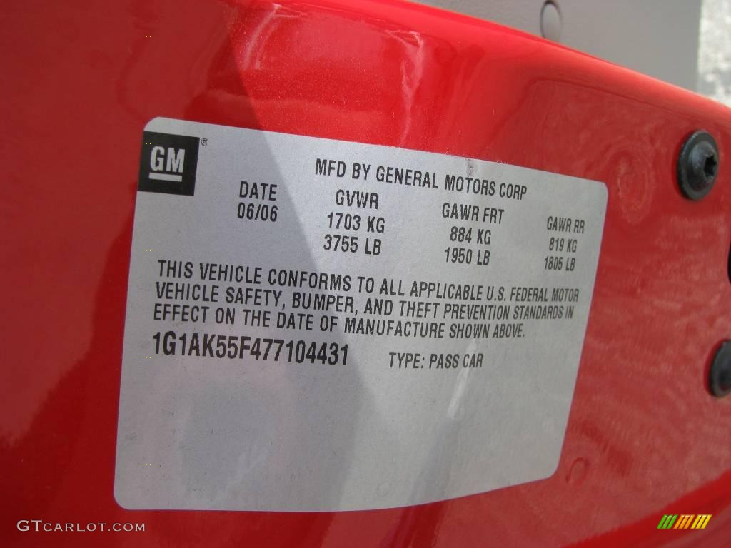 2007 Cobalt LS Sedan - Victory Red / Gray photo #14