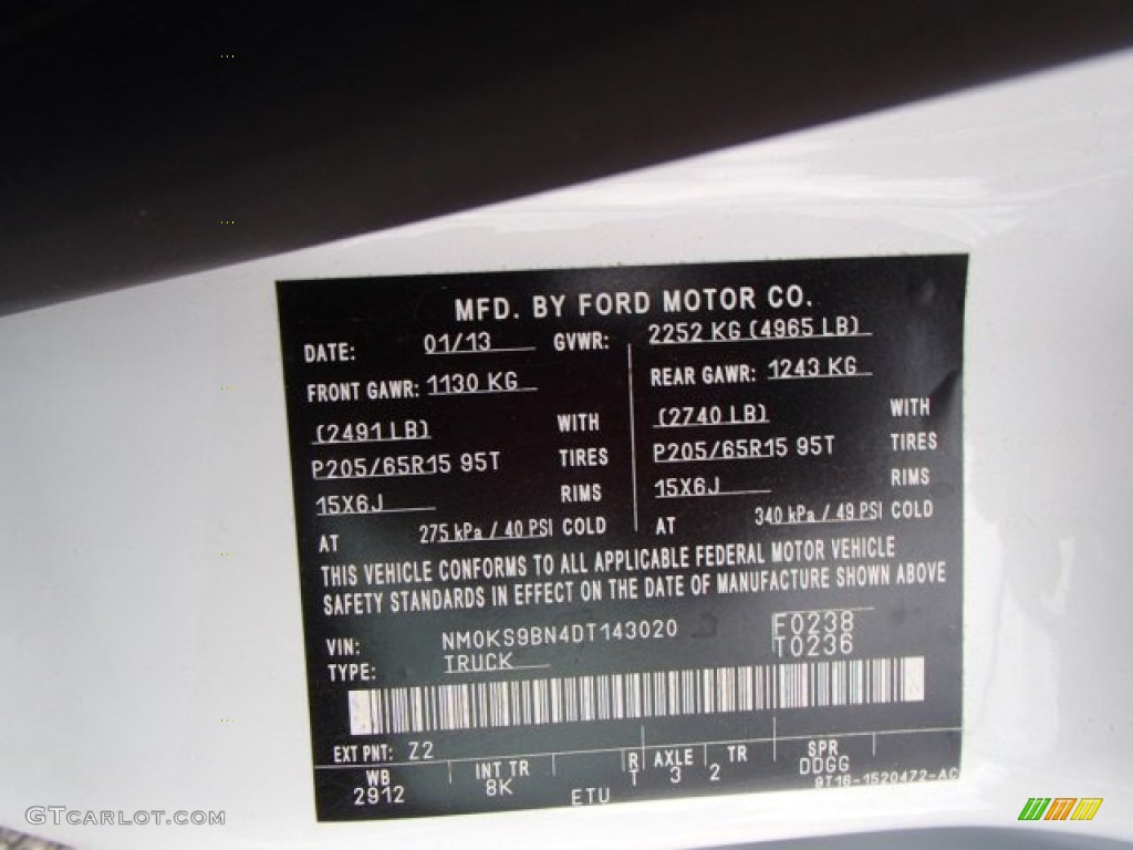 Ford Transit Connect Paint Code