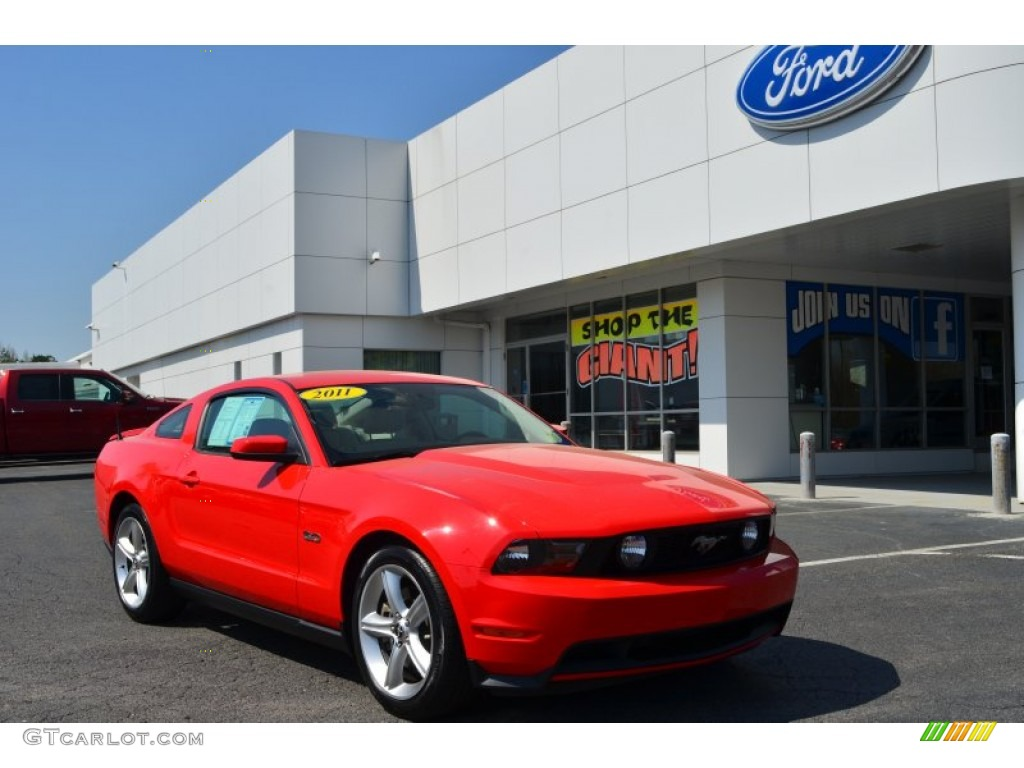 2011 Mustang GT Premium Coupe - Race Red / Stone photo #1