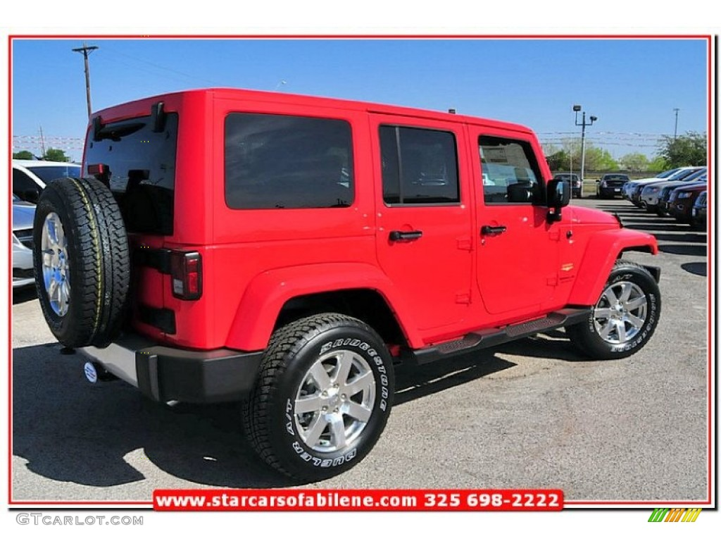 2013 rock lobster red jeep wrangler unlimited sahara 4x4 79713388 photo 7 car. Black Bedroom Furniture Sets. Home Design Ideas