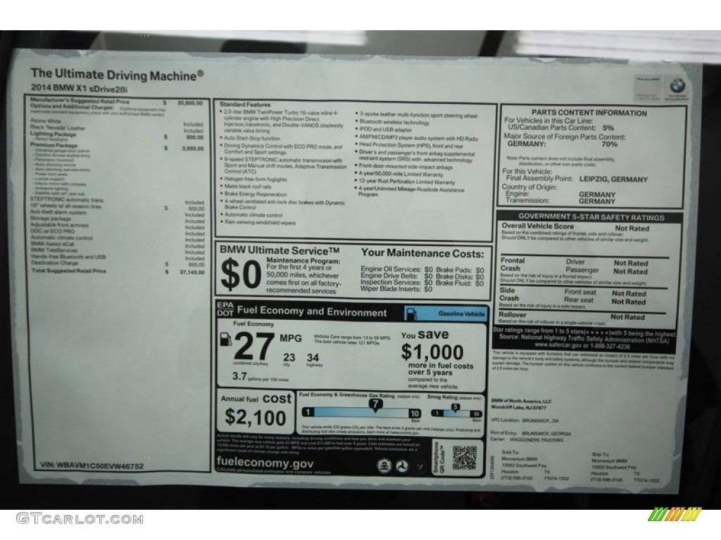 2014 Bmw X1 Sdrive28i Window Sticker Photo 79831147