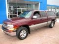 2000 Dark Carmine Red Metallic Chevrolet Silverado 1500 LS Extended Cab 4x4  photo #10