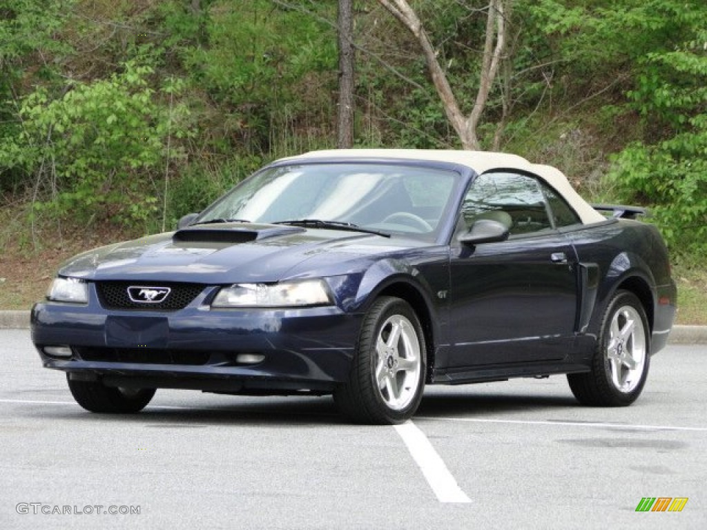 2003 Mustang GT Convertible - True Blue Metallic / Medium Parchment photo #21
