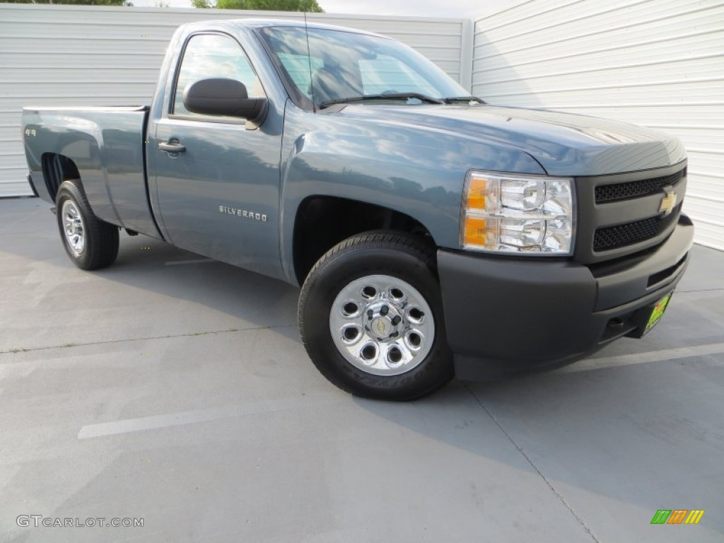 2012 Silverado 1500 Work Truck Regular Cab 4x4 - Blue Granite Metallic / Dark Titanium photo #2