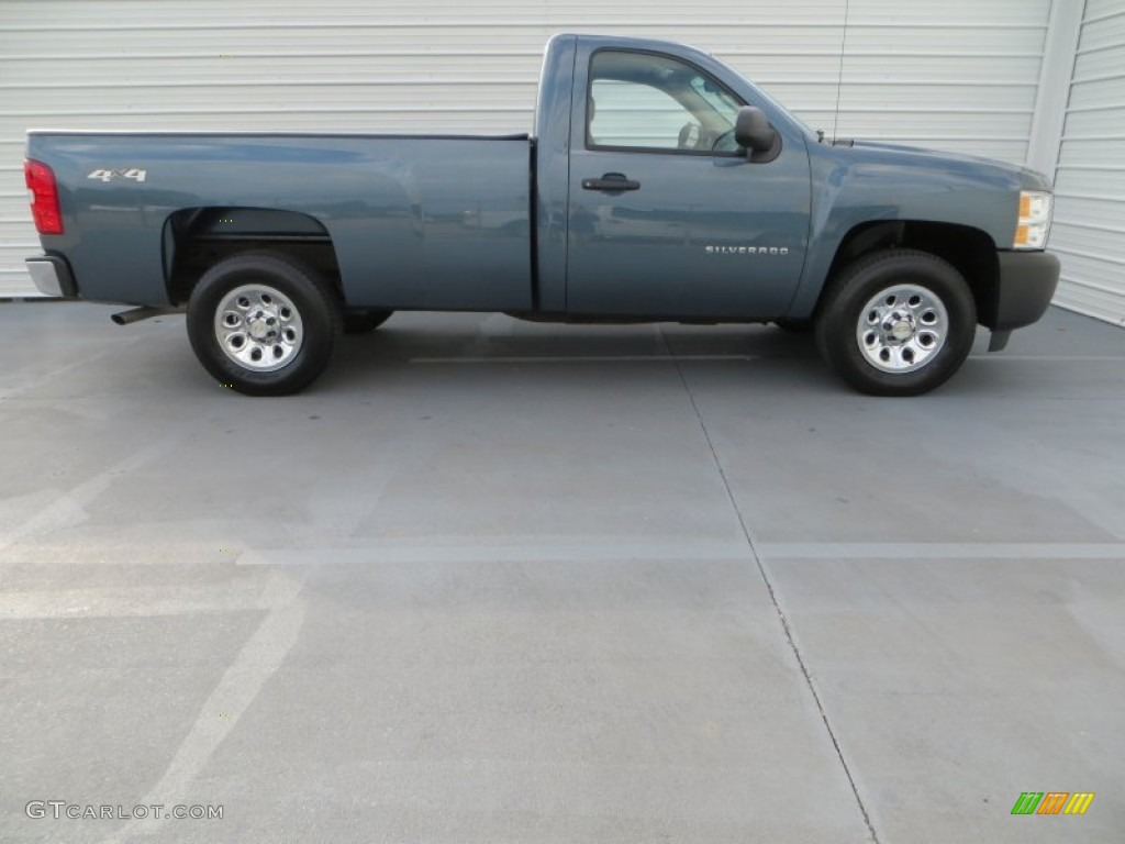 2012 Silverado 1500 Work Truck Regular Cab 4x4 - Blue Granite Metallic / Dark Titanium photo #3