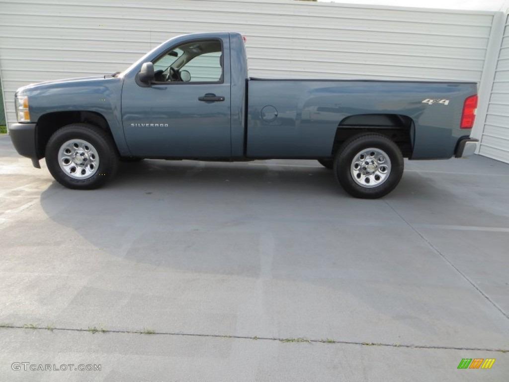 2012 Silverado 1500 Work Truck Regular Cab 4x4 - Blue Granite Metallic / Dark Titanium photo #6