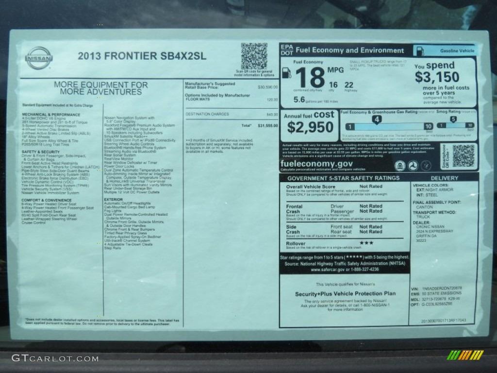 2013 Nissan Frontier SL Crew Cab Window Sticker Photo ...