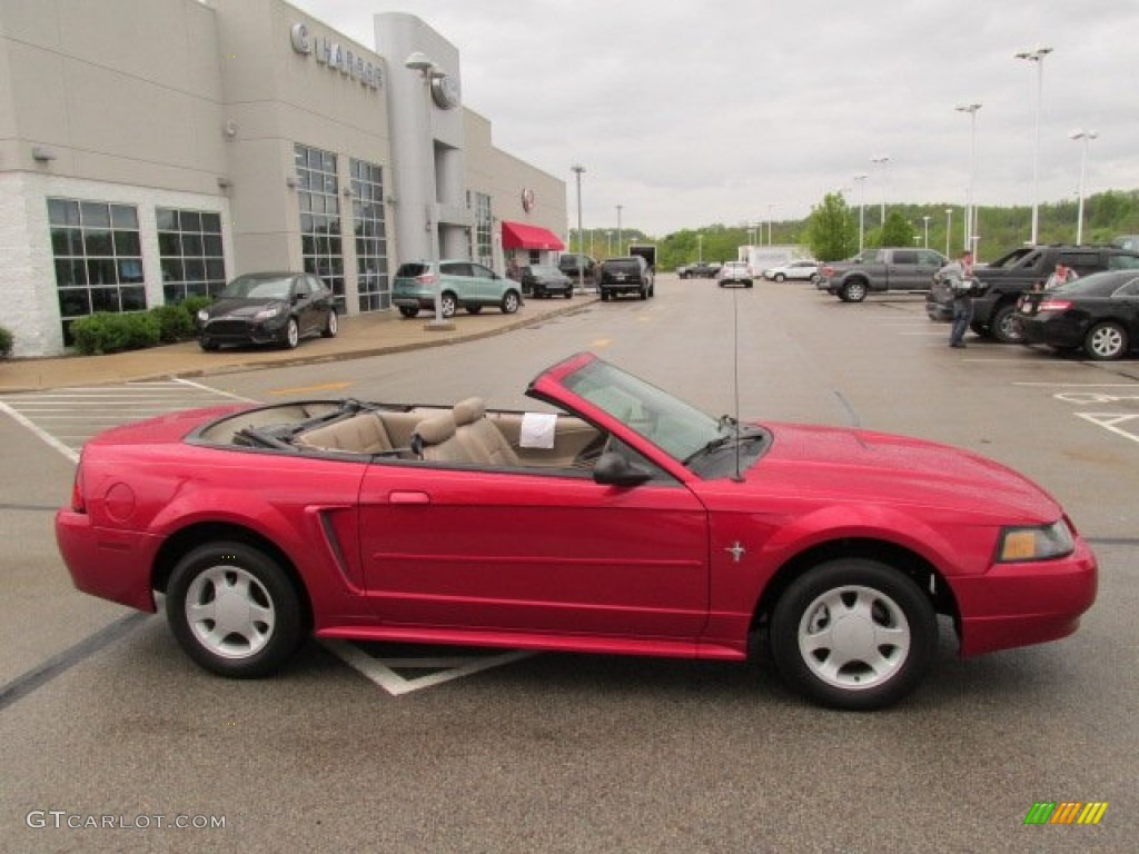 2001 Mustang V6 Convertible - Performance Red / Medium Parchment photo #4