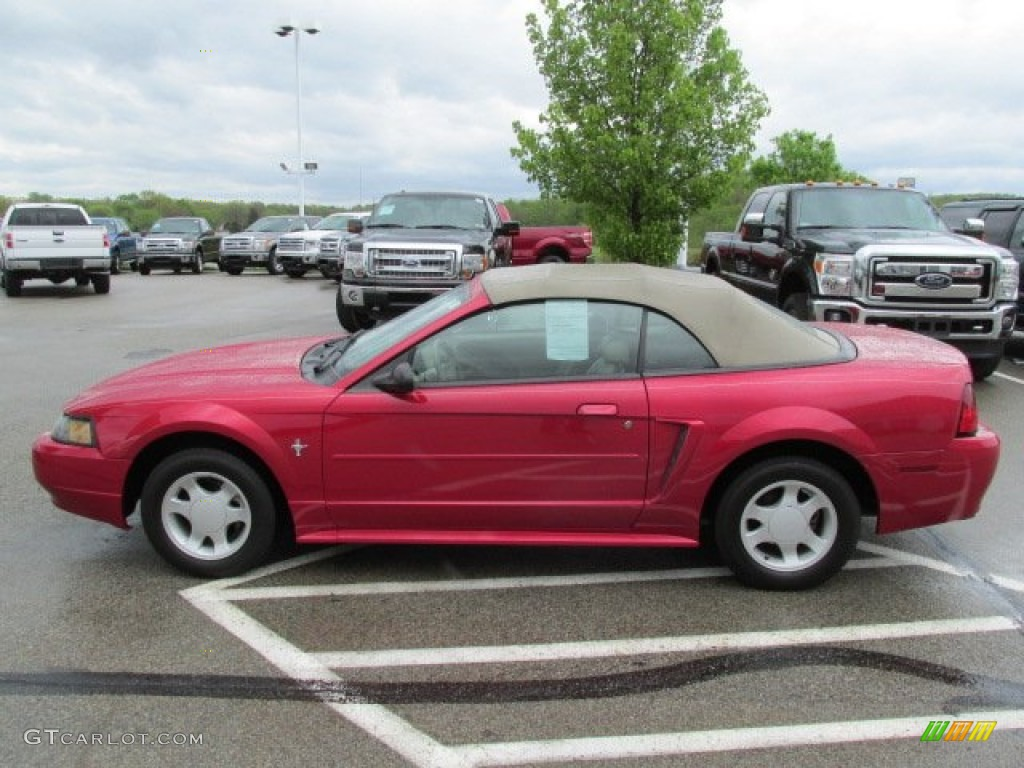 2001 Mustang V6 Convertible - Performance Red / Medium Parchment photo #10