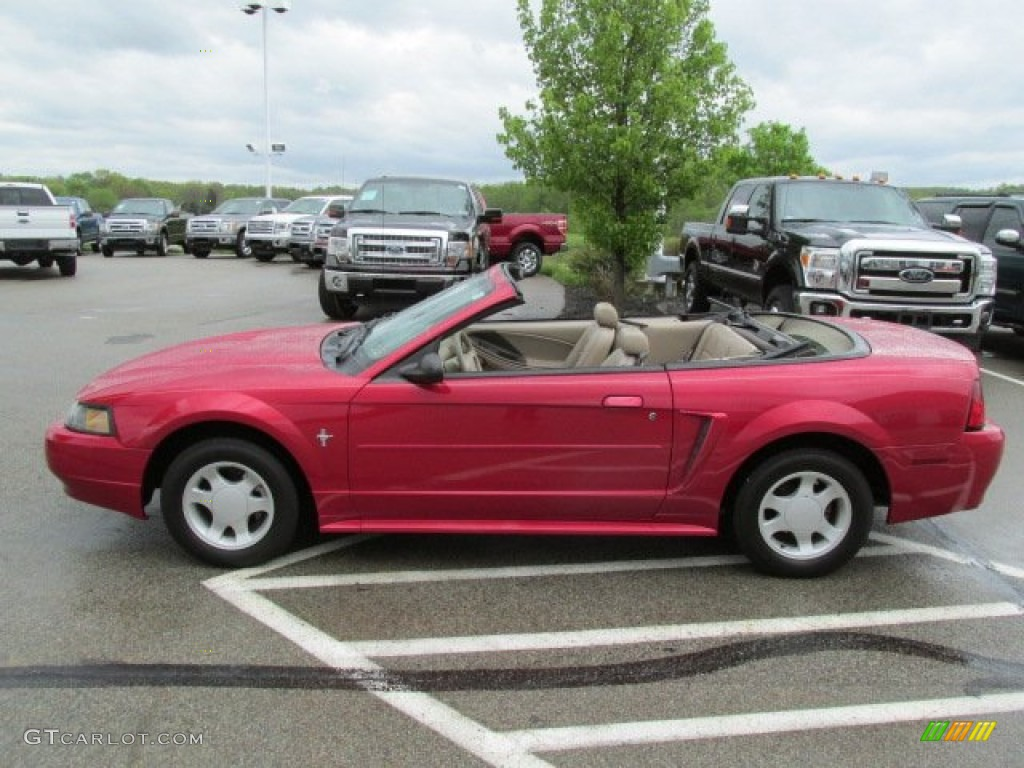 2001 Mustang V6 Convertible - Performance Red / Medium Parchment photo #11