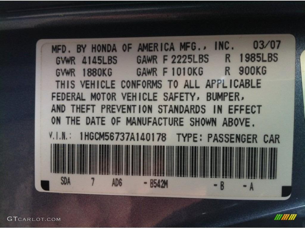 2007 Honda Accord Ex Sedan Color Code Photos Gtcarlot Com
