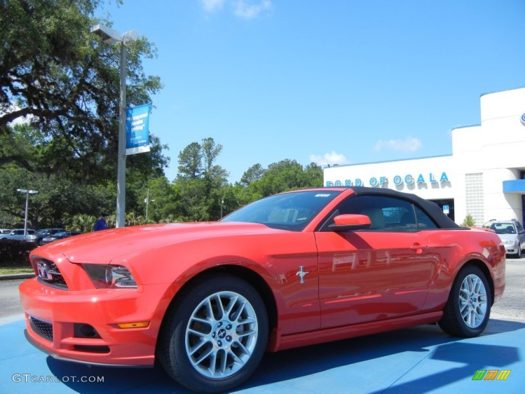 2014 Mustang V6 Premium Convertible - Race Red / Medium Stone photo #1