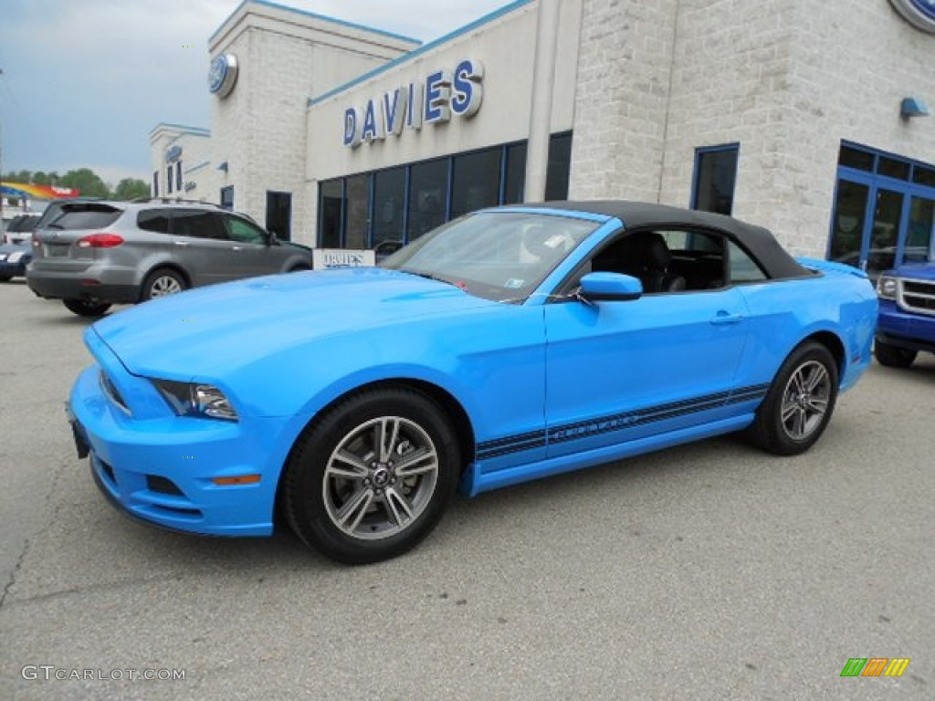 2013 mustang v6 premium convertible grabber blue charcoal black photo 1